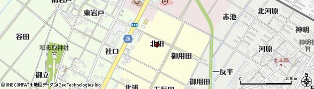 愛知県岡崎市東本郷町(北田)周辺の地図