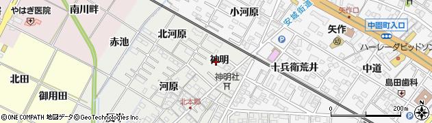 愛知県岡崎市北本郷町(神明)周辺の地図