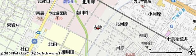 愛知県岡崎市北本郷町(赤池)周辺の地図