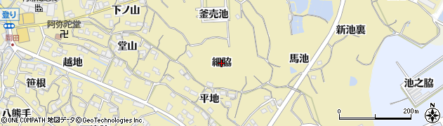 愛知県知多市岡田(細脇)周辺の地図