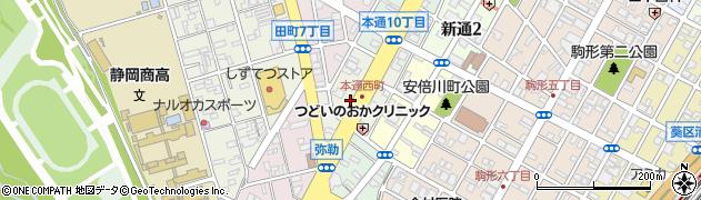 静岡県静岡市葵区本通西町周辺の地図