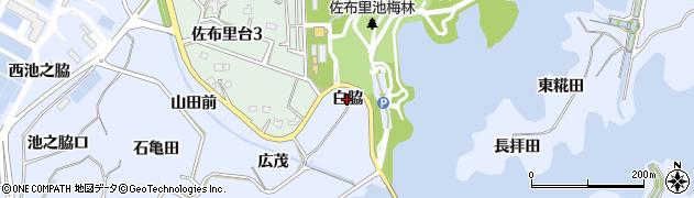 愛知県知多市佐布里(白脇)周辺の地図