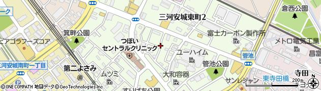 愛知県安城市三河安城東町周辺の地図