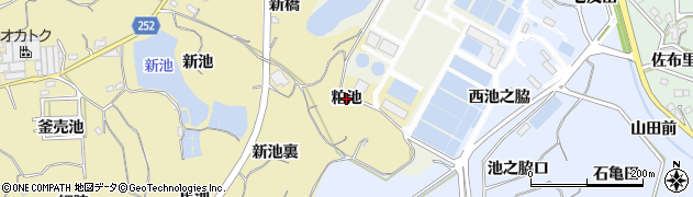 愛知県知多市岡田(粕池)周辺の地図