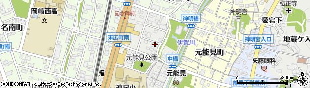 愛知県岡崎市城北町周辺の地図