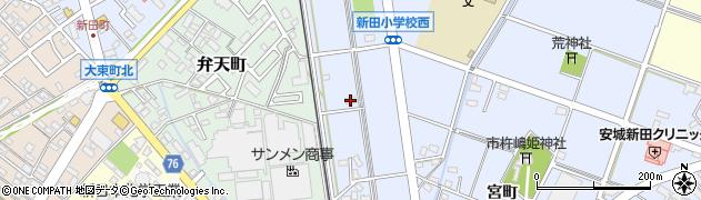 愛知県安城市新田町(新栄)周辺の地図