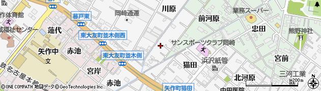 愛知県岡崎市東大友町(川原)周辺の地図
