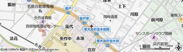 愛知県岡崎市東大友町(並木側)周辺の地図