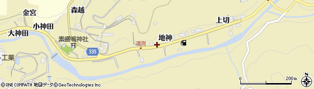 愛知県岡崎市須淵町(地神)周辺の地図
