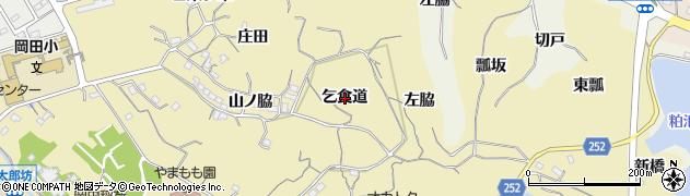 愛知県知多市岡田(乞食道)周辺の地図