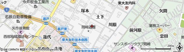 愛知県岡崎市東大友町(土下)周辺の地図