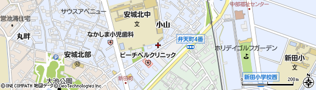 愛知県安城市新田町(小山)周辺の地図