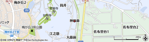 愛知県知多市佐布里(神田鼻)周辺の地図