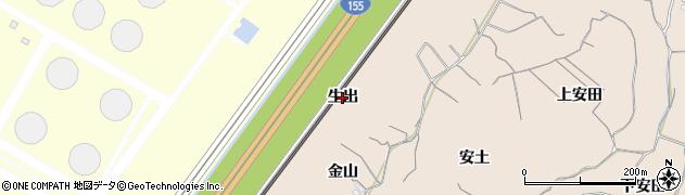 愛知県知多市日長(生出)周辺の地図