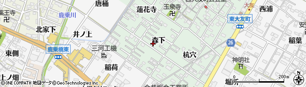 愛知県岡崎市西大友町(森下)周辺の地図