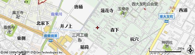愛知県岡崎市西大友町周辺の地図