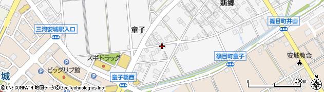 愛知県安城市篠目町(童子)周辺の地図