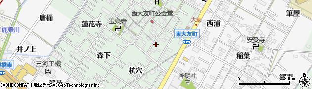 愛知県岡崎市西大友町(桃々木)周辺の地図