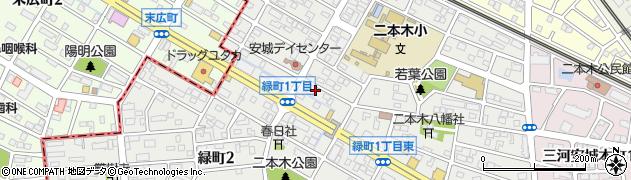 愛知県安城市緑町周辺の地図