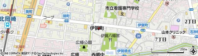 愛知県岡崎市伊賀町周辺の地図