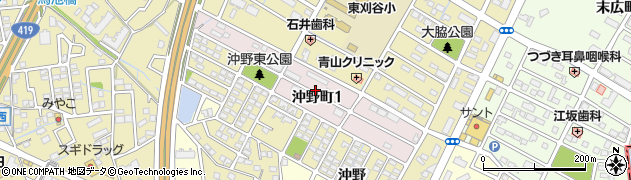 愛知県刈谷市沖野町周辺の地図