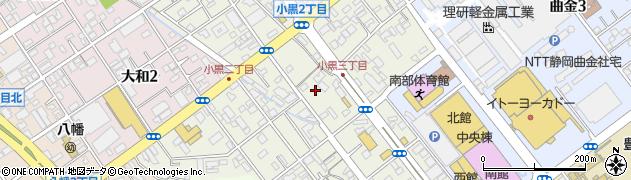 静岡県静岡市駿河区小黒周辺の地図