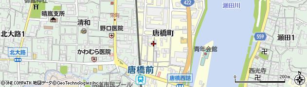 滋賀県大津市唐橋町周辺の地図