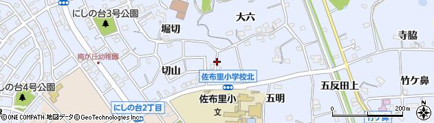愛知県知多市佐布里(大六奥)周辺の地図
