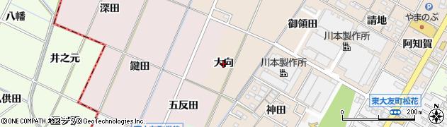 愛知県岡崎市橋目町(大向)周辺の地図