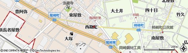 愛知県安城市尾崎町(西勘定)周辺の地図