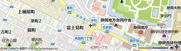 静岡県静岡市葵区中町周辺の地図