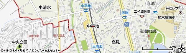 愛知県東海市加木屋町(中平地)周辺の地図