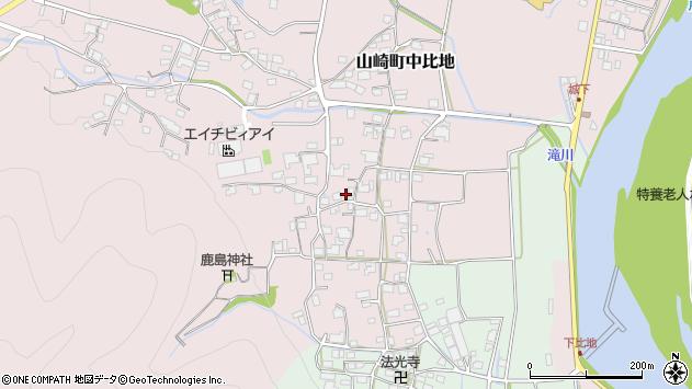 〒671-2557 兵庫県宍粟市山崎町中比地の地図