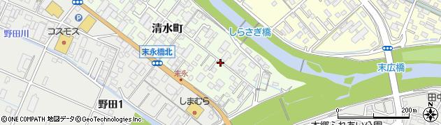 三重県四日市市清水町周辺の地図