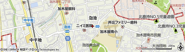 愛知県東海市加木屋町(泡池)周辺の地図