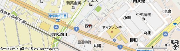 愛知県安城市尾崎町(西向)周辺の地図
