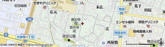 愛知県岡崎市鴨田町(郷前)周辺の地図