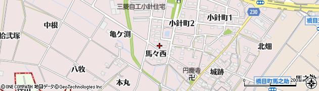 愛知県岡崎市小針町(馬々西)周辺の地図