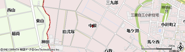 愛知県岡崎市小針町(中根)周辺の地図