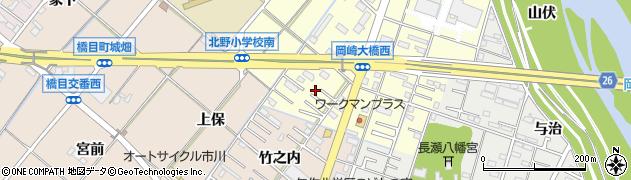 愛知県岡崎市北野町(西河原)周辺の地図