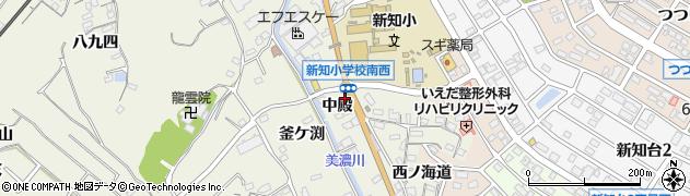 愛知県知多市新知(中殿)周辺の地図