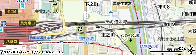 京都府京都市下京区東之町周辺の地図