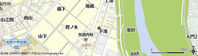 愛知県岡崎市北野町(下池)周辺の地図