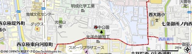 京都府京都市右京区西京極中沢町周辺の地図