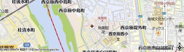 京都府京都市右京区西京極東側町周辺の地図