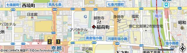 京都府京都市下京区小稲荷町周辺の地図