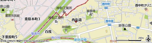 愛知県知立市西中町(西街道)周辺の地図
