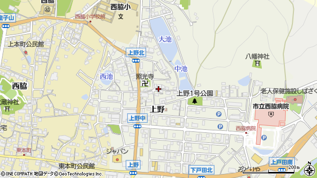 〒677-0044 兵庫県西脇市上野の地図