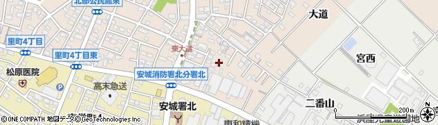 愛知県安城市里町(東大道)周辺の地図