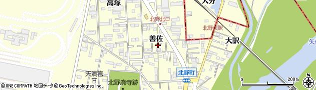 愛知県岡崎市北野町(善佐)周辺の地図